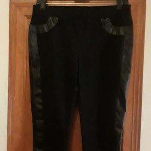Black pants with faux leather side detail